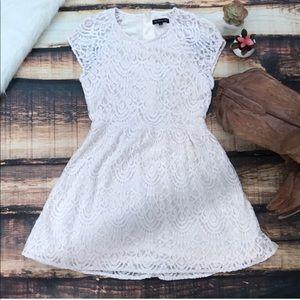 Lace Crochet Overlay Dress White
